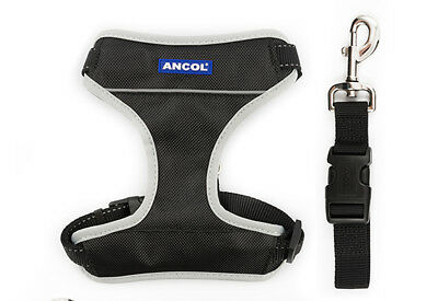 Strong padded dog harness,travel safety clip.Red,BlackS-XL💕WALK+CAR. Made in UK