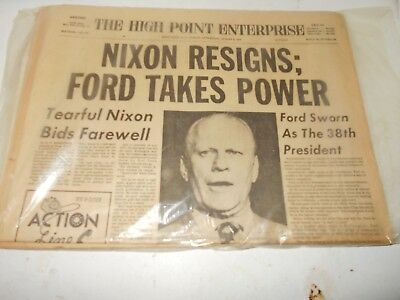 Vintage Collectible Historical News Paper Of President Nixon Resigns