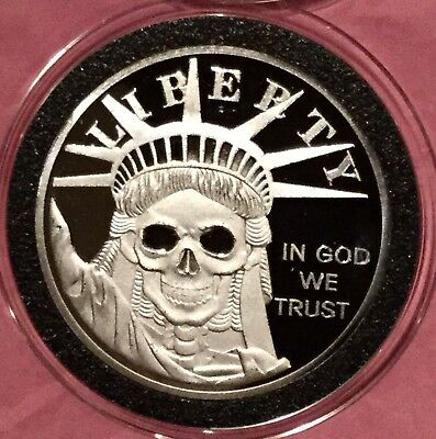 Statue Of Liberty SKULL Duty Honor Country 1 Troy Oz .999 Fine Silver Round Coin