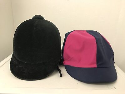Girls Black Velvet Horse Riding Hat Size 6 1/4 with Cover & Bow at the back