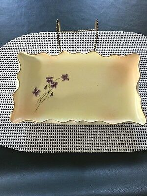 Antq .1883-1917 New Hampshire Pottery Violets Fluted Edge Dresser Tray, Mint