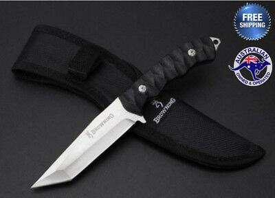 Browning Fixed Blade Hunting Knife Camping Tactical Outdoor AU Stock Sheath