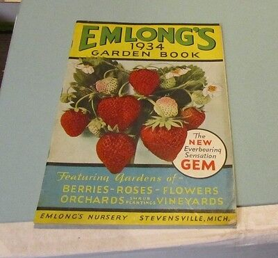 1934 Emlong's Garden Book Flower Berry Catalog Stevensville Michigan Nursery