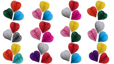pack of 3 Valentines decoration paper heart shaped honeycomb Birthday Wedding