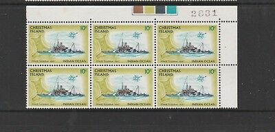"Christmas Island 1972-73 Definitive Ships. Mint Block 6 x 10c. ""Egeria."""