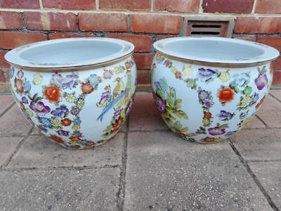 c.1950's Pair Large Asian Beautiful Hand Enameled Floral/Bird Planter Pots