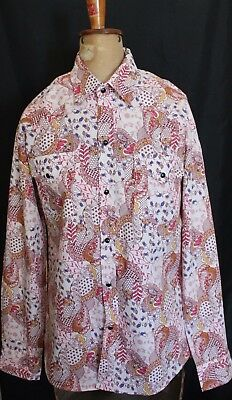 LEVI STRAUSS ~ Vintage Pink Yellow White Paisley Floral Western Shirt XL 16