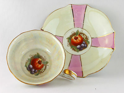 "Vintage 1950's fruit design iridescent Cup & Saucer on three ""legs"" Japan"