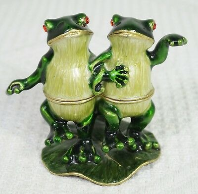 Bejeweled Two Frogs Dancing on Lily Pad Trinket Box Enamel w/ Red Stone Eyes
