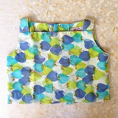 VTG Liberty House Top Blue Green Strawberry Baby Toddler Girls Strawberries