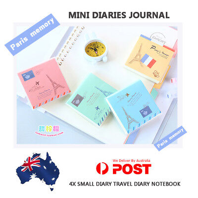 4X Small Diary Travel Diary Notebook Mini Diaries Journal