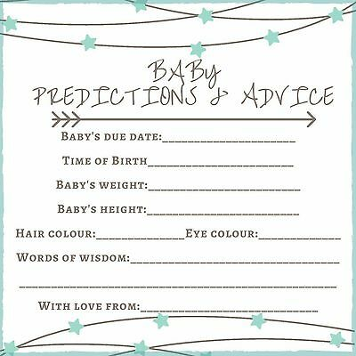 .Baby Shower Game x10 - Baby prediction & advice cards 13cm x 13cm....