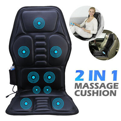 2 IN 1 9 Motor Vibration Massaging Back Car Home Seat Pad Chair Portable Cushion