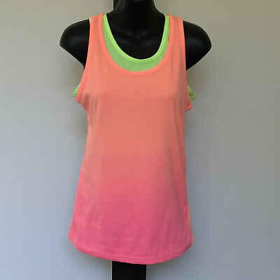 'Miss Understood' Vgc Size '14' Green, Pink & Yellow Layered Racer Back Top