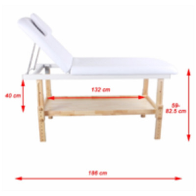 Manual Timber Bed built in shelf Beauty Ayurvedic Natural Spa Therapy White