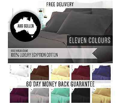 1000TC 100% Egyptian Cotton 4 Piece Bed Fitted Flat Sheet Set with Pillowcases