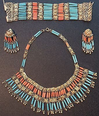 Egyptian Revival faience & coral necklace, earrings & bracelet set  Book Piece