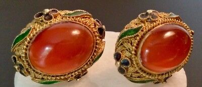 Antique Chinese Export Earrings Silver Filigree Gold Vermeil Carnelian Cloissoné