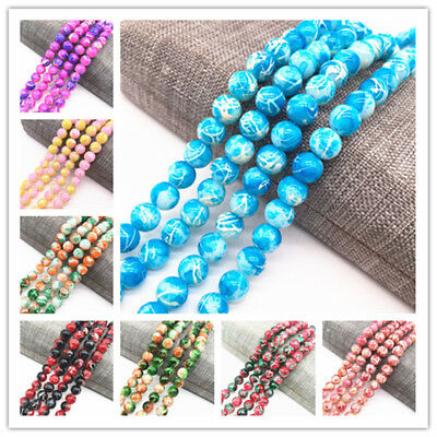 4/6/8mm Double Color Glass Beads Loose Spacer Painted Charm DIY Jewellery Making