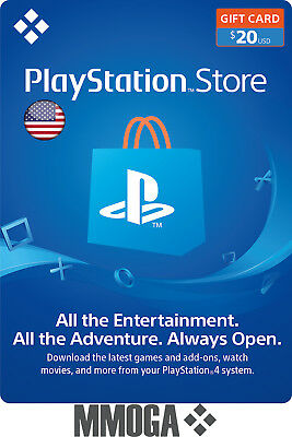 $20 USD PlayStation Network Store Card - PSN 20 US Dollar Prepaid Code - USA