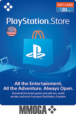 $20 USD PlayStation Network Store Gift Card - PSN 20 US Dollar Prepaid Code USA