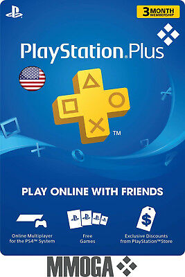 PlayStation Plus 3 Month 90 Days Card - PSN Membership Code PS3 PS4 PS Vita USA