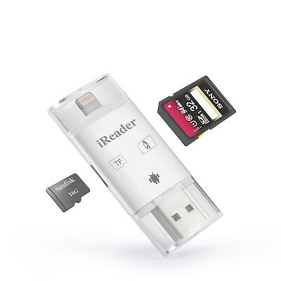 iReader Kartenleser für iPhone iPad 3in1 USB Stick OTG 2.0 Micro Lightning weiß