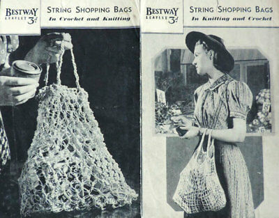 Vintage 1930s-40s KNITTING & CROCHET PATTERN To Make STRING SHOPPING BAGS Retro