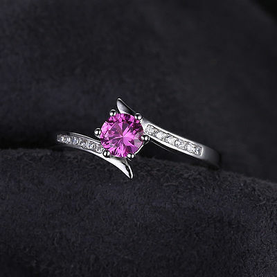 0.7ct Pink Sapphire round solitaire Ring  925 Sterling Silver Size 9 Women