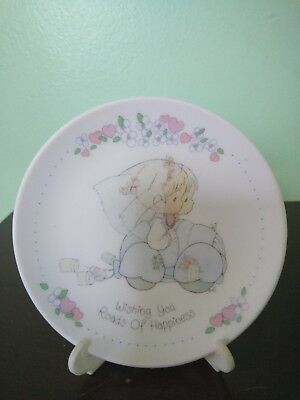 """1989 Precious Moments """"Wishing You Roads of Happiness"""" Plate with Stand"""