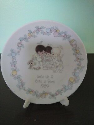"""1989 Precious Moments """"Unto Us a Child is Born"""" Plate with Stand"""