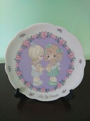 """1991 Precious Moments """"Let's Be Friends"""" Plate with Stand"""
