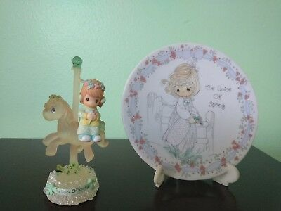 """1992 Precious Moments """"Voice of Spring"""" Plate with Stand and Small Figurine"""