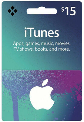 $15 USD iTunes Prepaid Card - 15 US Dollar Apple Store Code Key - USA Region