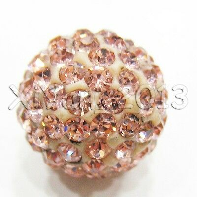 Shamballa Beads 100 Pcs Crystal Pave Disco  Fit Bracelet 10MM champagne 6 row
