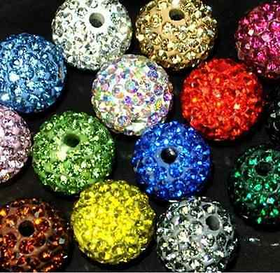 500pcs  High Quality 10mm Disco Ball Crystal shamballa beads  Mixed
