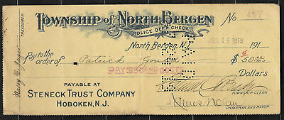 1920 Obsolete Bank Check North Bergen Township NJ Police Dept Check
