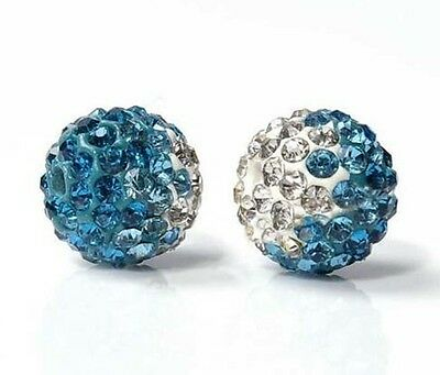 10mm 500pcs light blue Gradient Rhinestone Round Charm Crystal Shamballa beads