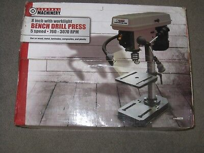 "Central Machinery 5 Speed Bench Drill Press #60238 - NEW - 8"" with worklight"