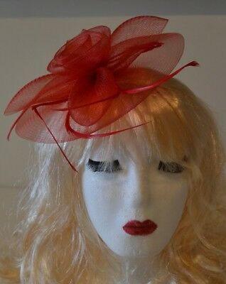 Red Fascinator Large 20cm Feathers Flower Wedding Hats Ladies Day Races Ascot