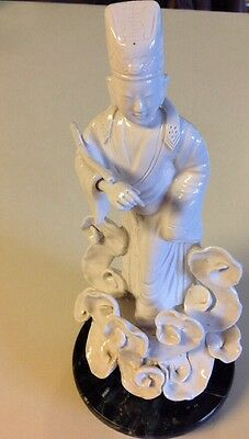 "Antique Taoist Priest in Clouds w/ Stand 10 1/2"" Tall x 5"" Wide (H)"