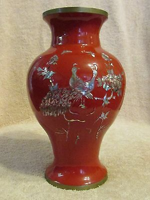 Vintage Japanese Japan Red Enamel Brass Flower Cloisonne Vase