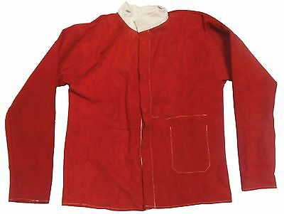 "Extra Large (46""-48"") Red Leather Jacket for Welder / Blacksmith"
