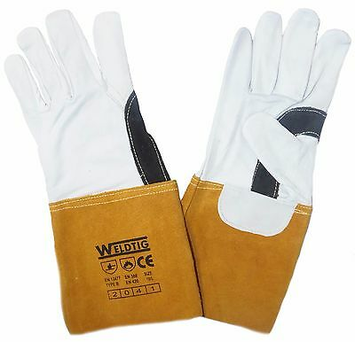 Gold TIG Welding Leather Gauntlets / Gloves - Kevlar Stitched Premium