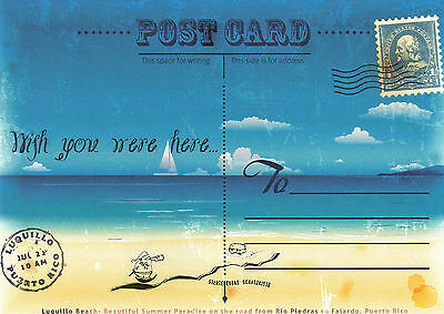Kunstpostkarte -  Post Card : Wish you were here / Urlaub Meer Sonne Strand
