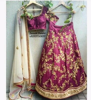 NEW Bridal Violet Lehenga Choli Pure 100% SILK with Hand Embroidery  Bollywood