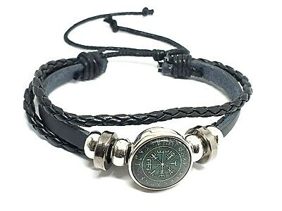 Leather Viking Vegvisir Rune Compass Cuff Bracelet 3 bands Icelandic Stave UK