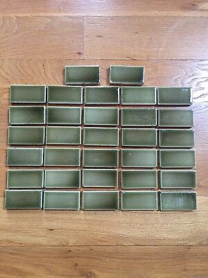 ANTIQUE LOT of 32 A E TILE CO LTD GREEN VICTORIAN STYLE FIREPLACE BORDER TILE 3""