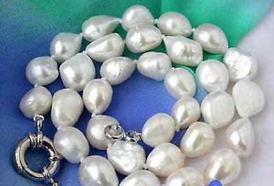 14x16mm AAA Natural Huge Baroque White Freshwater Cultured Pearl Necklace 18 ""