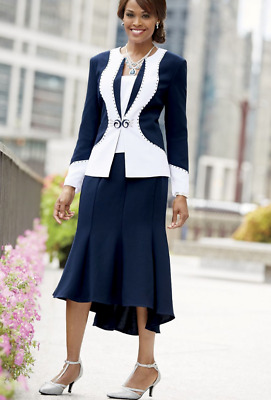 Drea Dress Skirt Suit Ashro Navy White Rhinestone Formal Church 10 12 14 16W